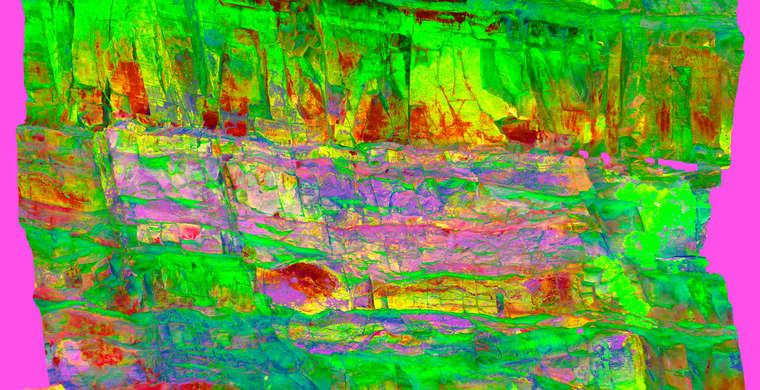 Ortoimagen Canchal del Zarzalón IV, panel 2. Tratamiento DStretch crgb15 hs16 tc7973g57