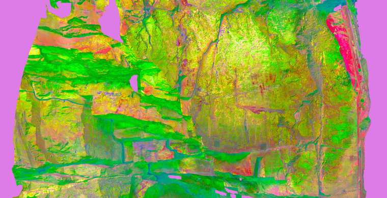 Ortoimagen Cueva del Cristo, paneles 3 y 4. Tratamiento DStretch CRGB12.5 HS19