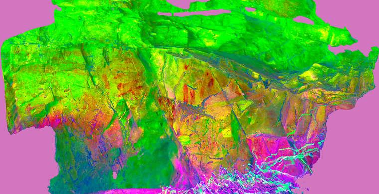 Ortofotografía Canchal de la Villita / Acerones, panel 3. Tratamiento DStretch CRGB15 HS10 TC8559g58