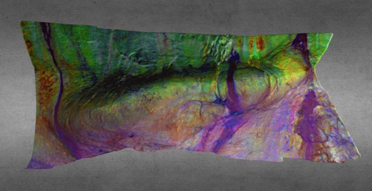 3D model Cova Centelles, right area, lower shelter, false color.