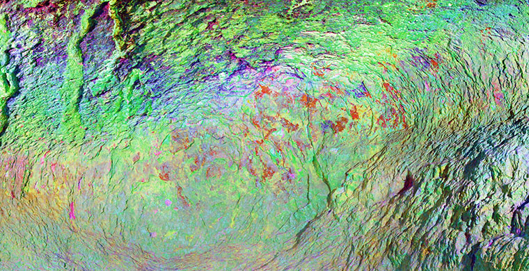 Left hand area of the lower shelter of Cova Centelles, false color.