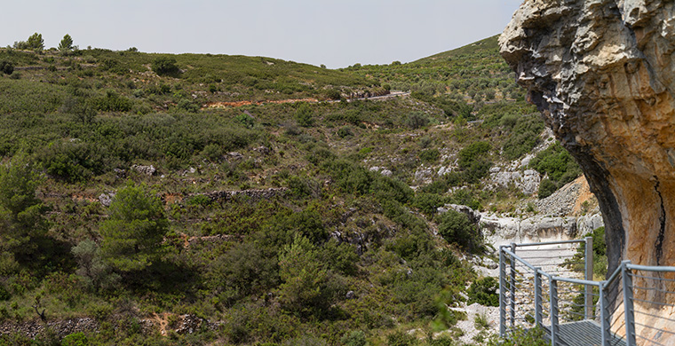 Panoramic view from inside of Coves del Civil.
