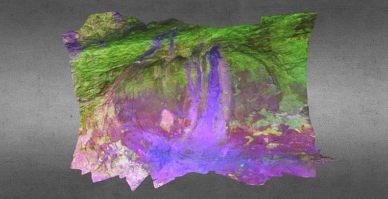 3D model of left hand area of Cova dels Cavalls, false color.