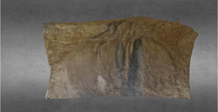 3D model of left hand area of Cova dels Cavalls, real color.