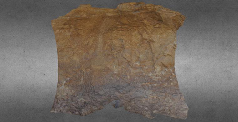 3D model of right hand area of Cova dels Cavalls, real color.