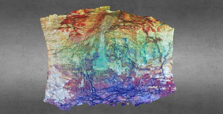 3D model of right hand area of Cova dels Cavalls, false color.