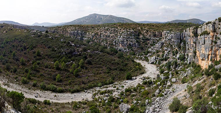 Panoramic view from Cova dels Cavalls.