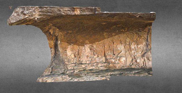 3D model of left hand area of Cova Alta del Lledoner.